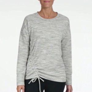🆕 REEBOK Women's Cinch Side Gray Crew Sweatshirt